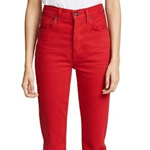 NWT Agolde Riley jeans in scarlet size 30